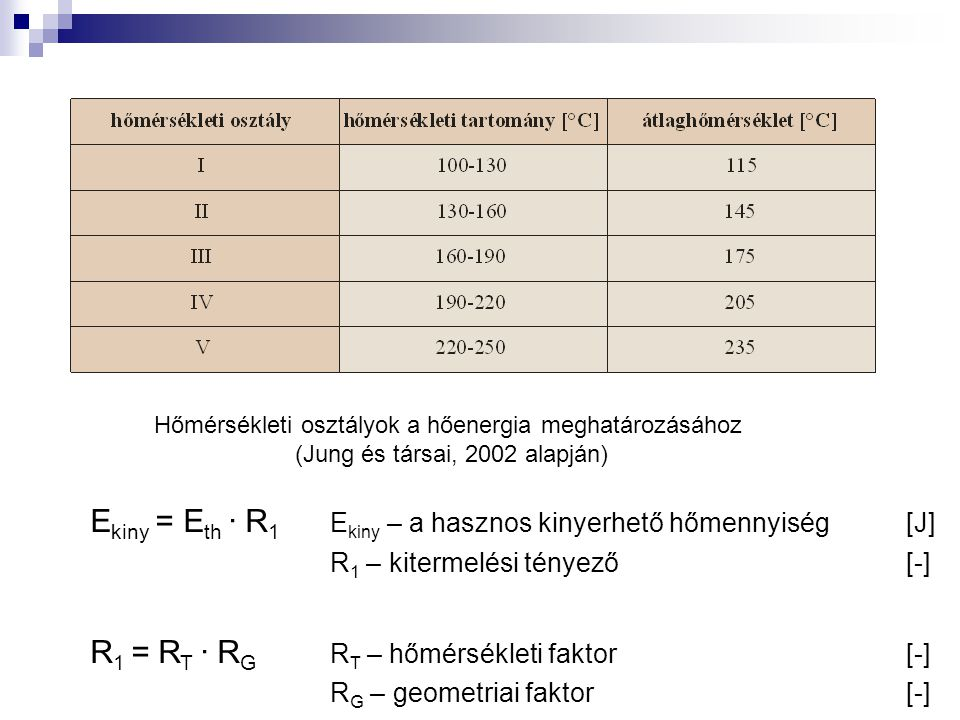 Ekiny = Eth ∙ R1 Ekiny – a hasznos kinyerhető hőmennyiség [J]